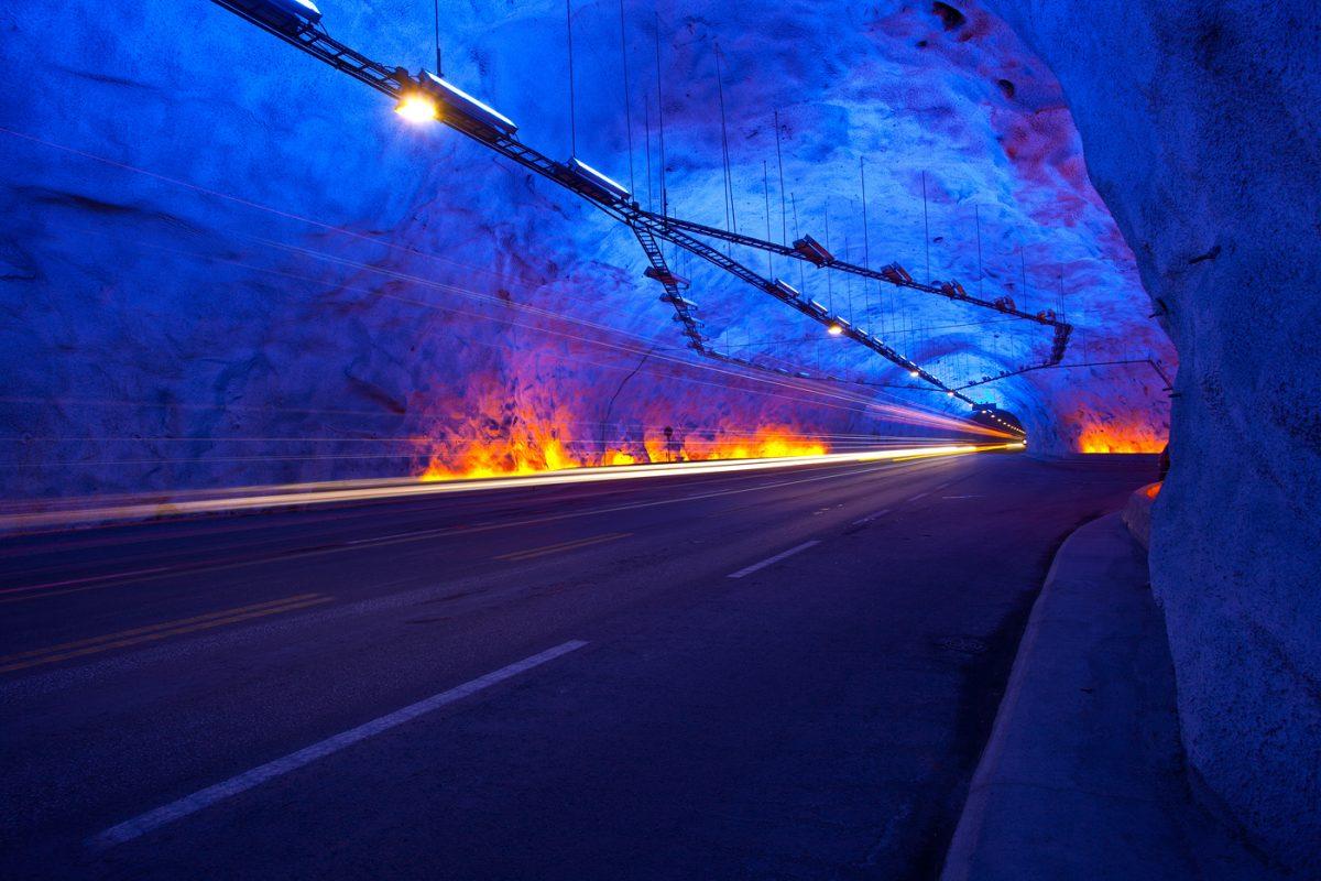 Inside the Lærdal tunnel