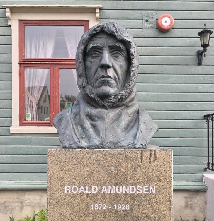 A statue of Roald Amundsen, the famous Norwegian polar explorer, in Tromsø