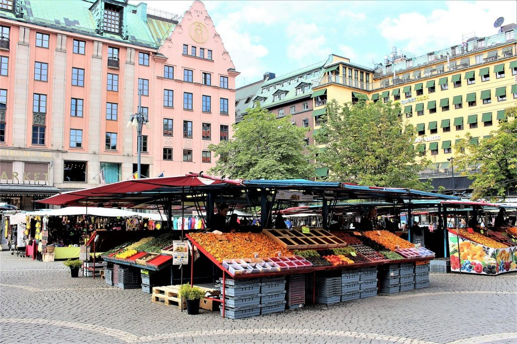 Open market in the Swedish capital