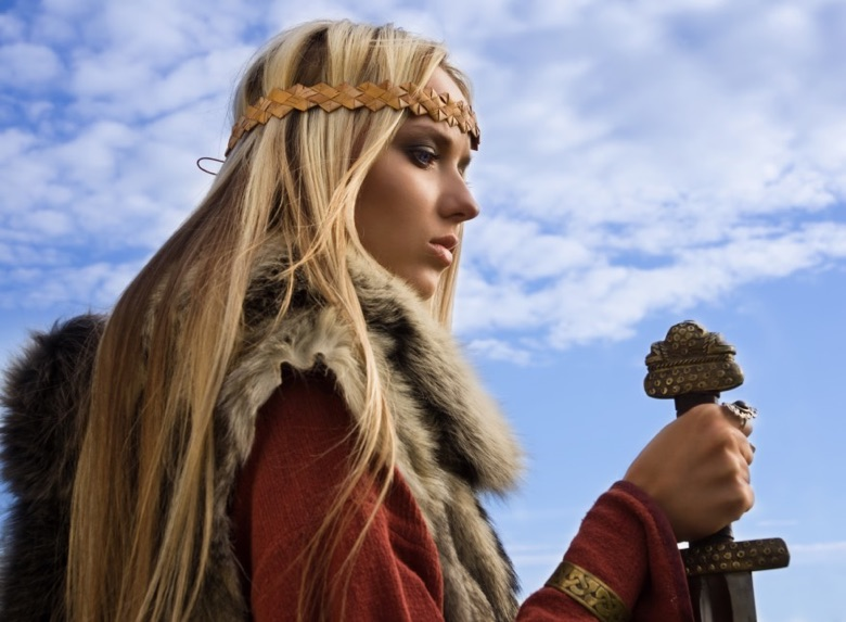 Blonde Viking woman with sword