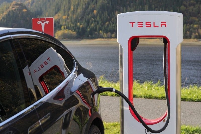A Tesla charging station for electric cars in Norway