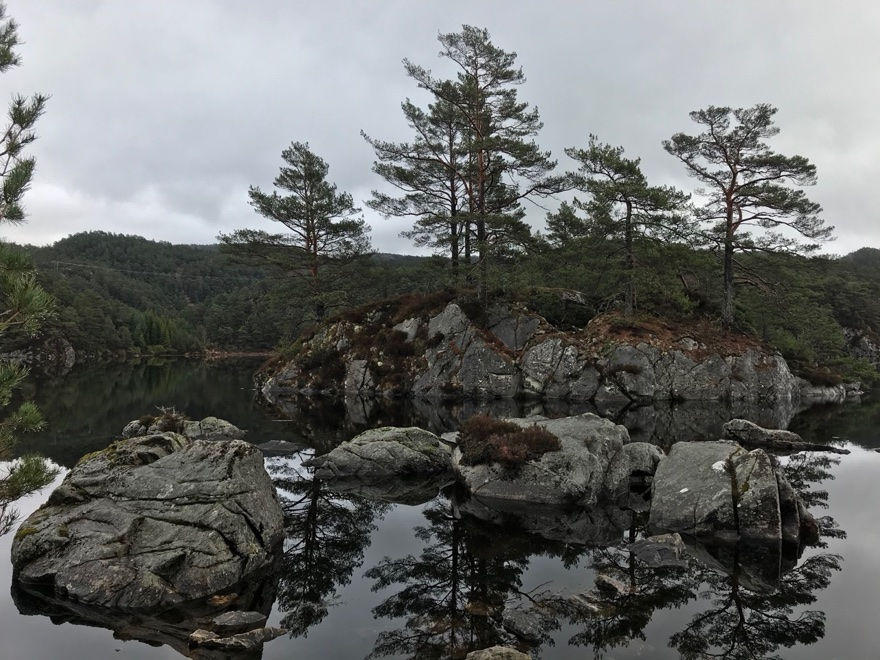 A picturesque rest stop on the western edge of Stord Island in Norway