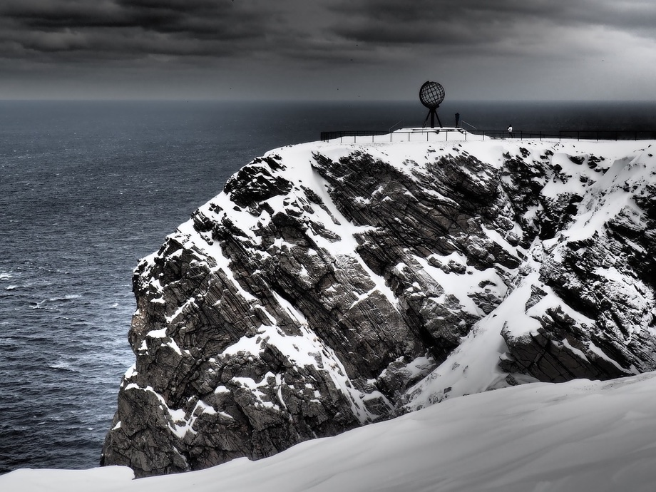 A moody winter's day at Nordkapp in Arctic Norway