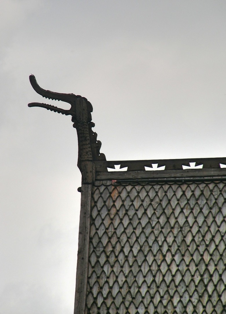 Detail on Lom Stave Church in Norway