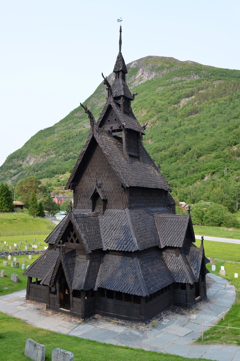 The remarkable Borgund starve church in the fjords of Norway.