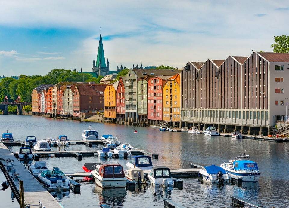 A picturesque view of old Trondheim, Norway