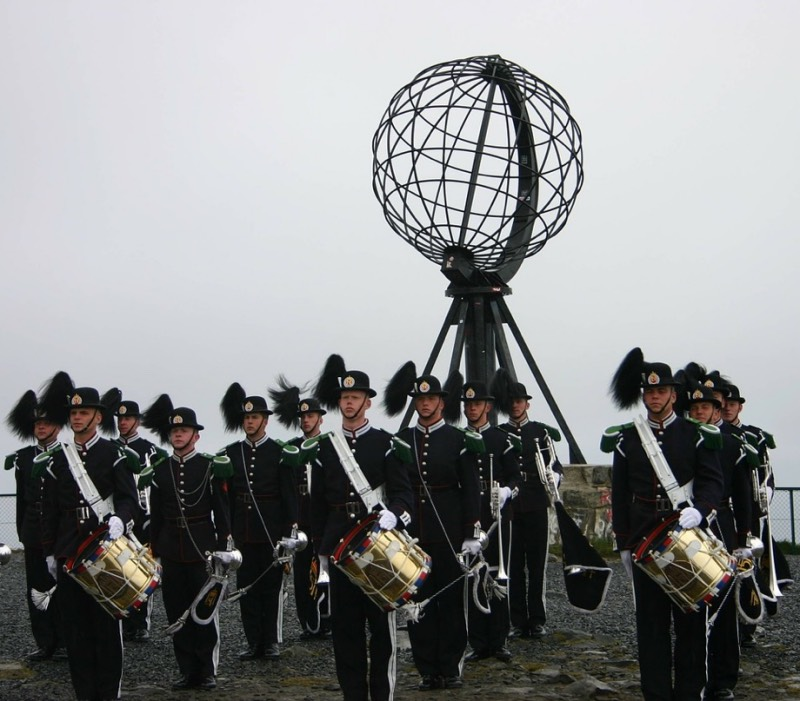 A marching band at the North Cape in Norway