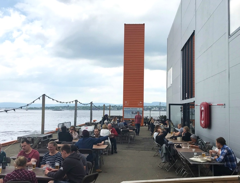 Eating outside along the Oslo waterfront