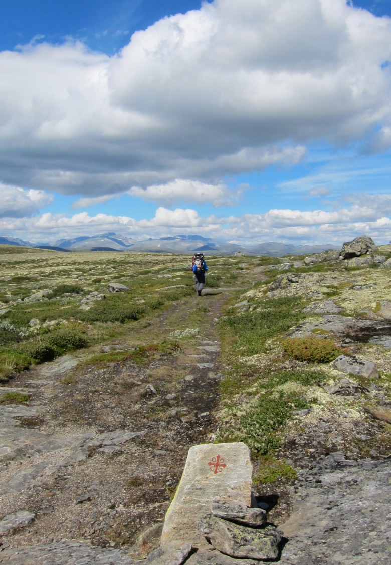 Hiking over mountains on Norway's Pilgrim Way