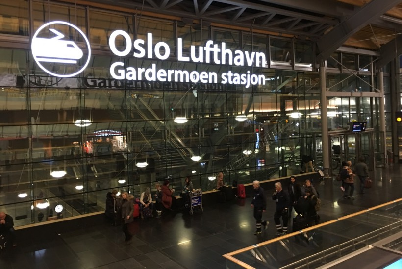 The train station inside Oslo Airport