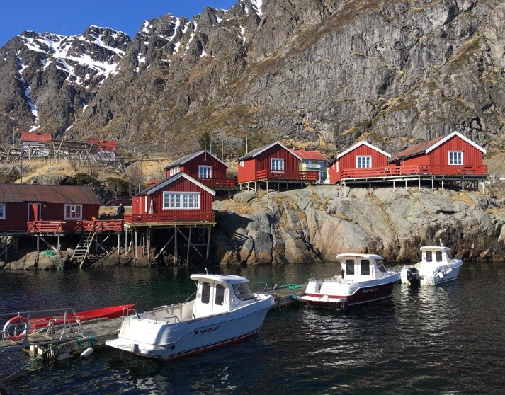 Cottages and boats at Å in Lofoten