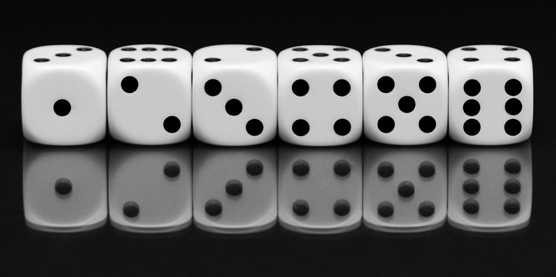 One to six on dice