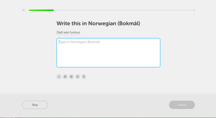 The desktop version of Duolingo