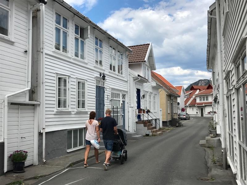 Walking down Fjellgaten in Flekkefjord, Norway