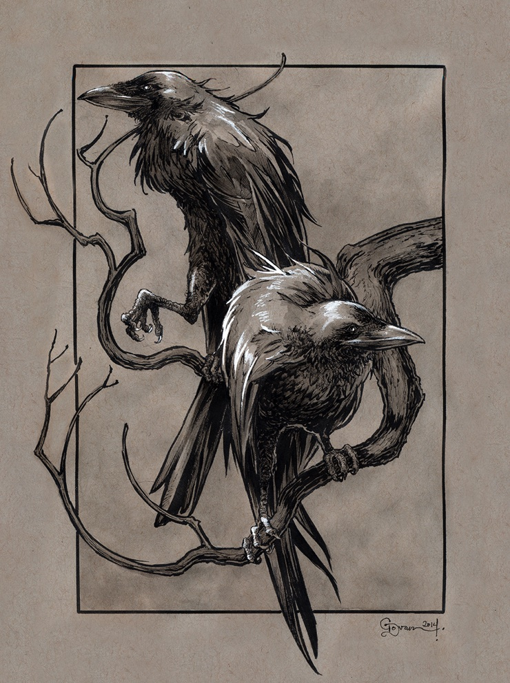 Huginn and Muninn, the ravens of Odin in Norse mythology