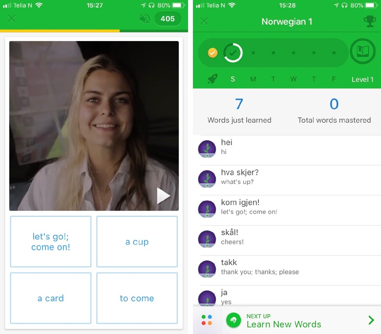 Learning Norwegian with Memrise