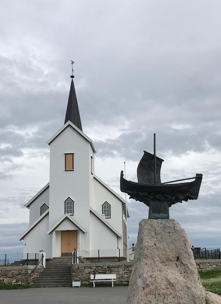 Røstlandet Church and ship sculpture