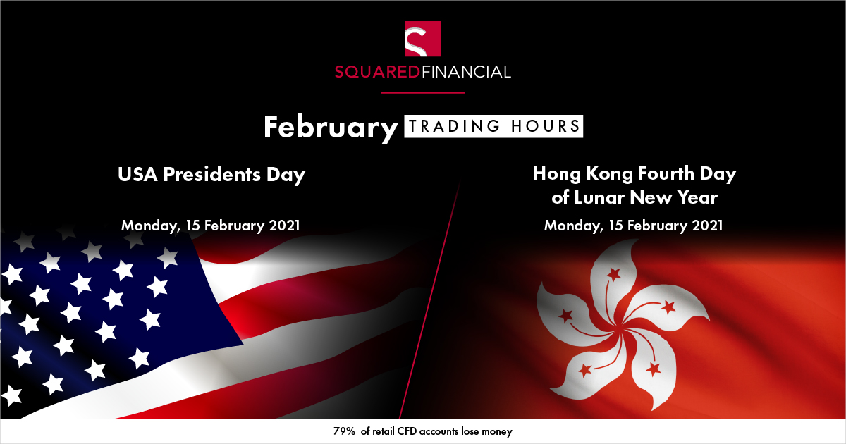 USA Presidents Day & Hong Kong Fourth Day of Lunar New Year Trading Hours