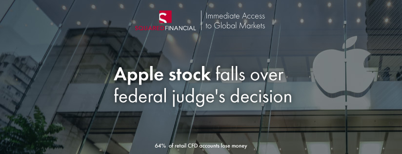 Apple stock falls over federal judge's decision