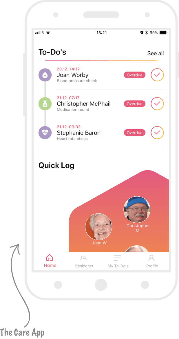 the carer app from Log my Care