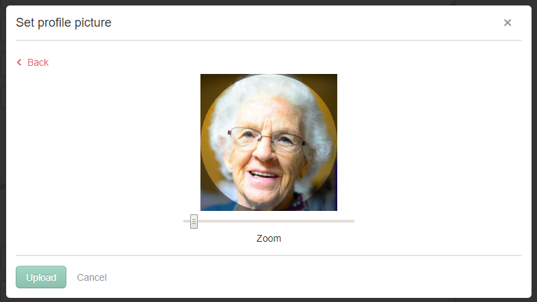Cropping a profile image for a resident in a care management system