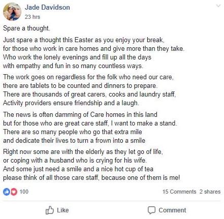 Carer Easter poem