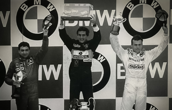 The Estoril GP Podium 1985 L R Michele Alboreto Ayrton Senna Patrick Tambay PREVIEW