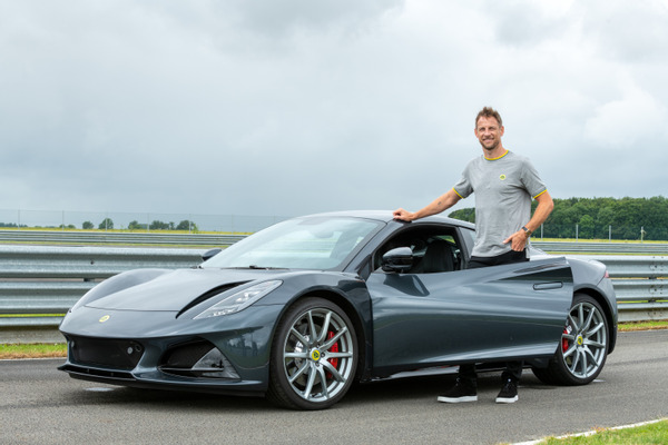 Jenson Button and the Lotus Emira