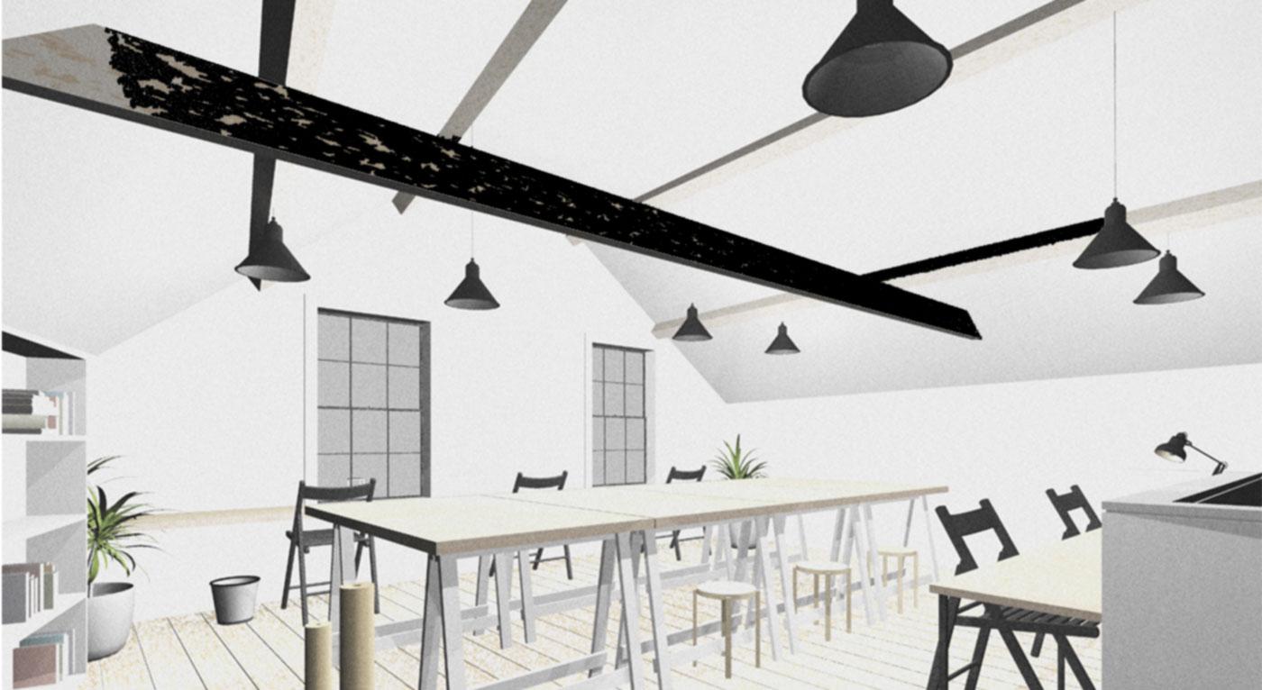 3d render image of Dark Lane Studios interior