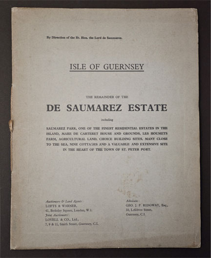Auction Of De Saumarez Estate 1938