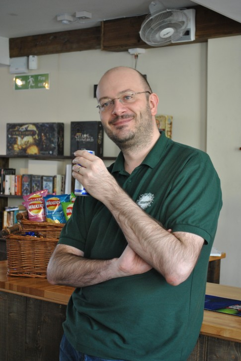 The man himself, seen here  with a can of Writer Fuel.