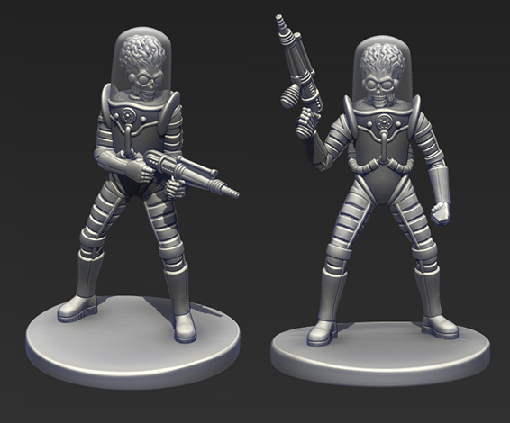 Two of the Martian Grunts that will appear in the Mars Attacks game