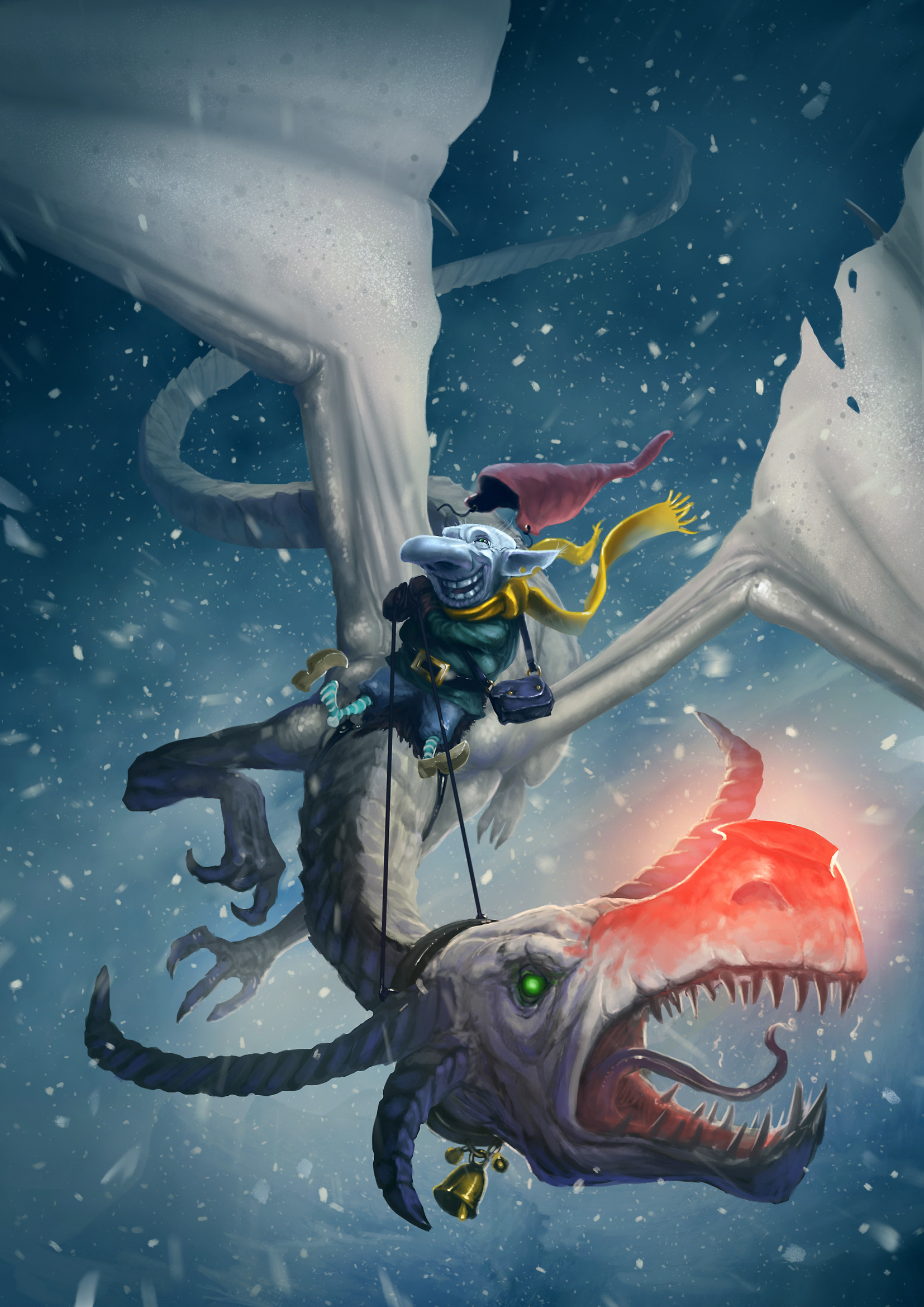 Next Christmas, we'll try shipping by dragon-riding frost goblin, as we've heard they're quite reliable. (Delightful artwork by Jonas Springborg.)
