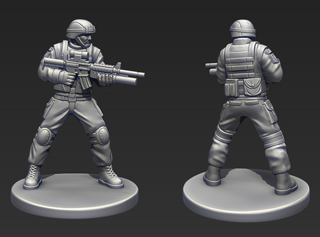 A work-in-progress shot of one of the U.S. Army troopers.