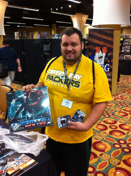 Matt Neely got the first demo of the con, and wasted no time getting his own game to take home to and share with his friends.