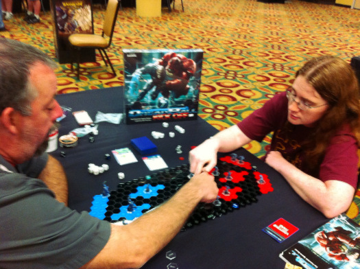 Or even sooner - here I am teaching Alicia the ins and outs of Dreadball so she and her husband could have a game in their hotel room!
