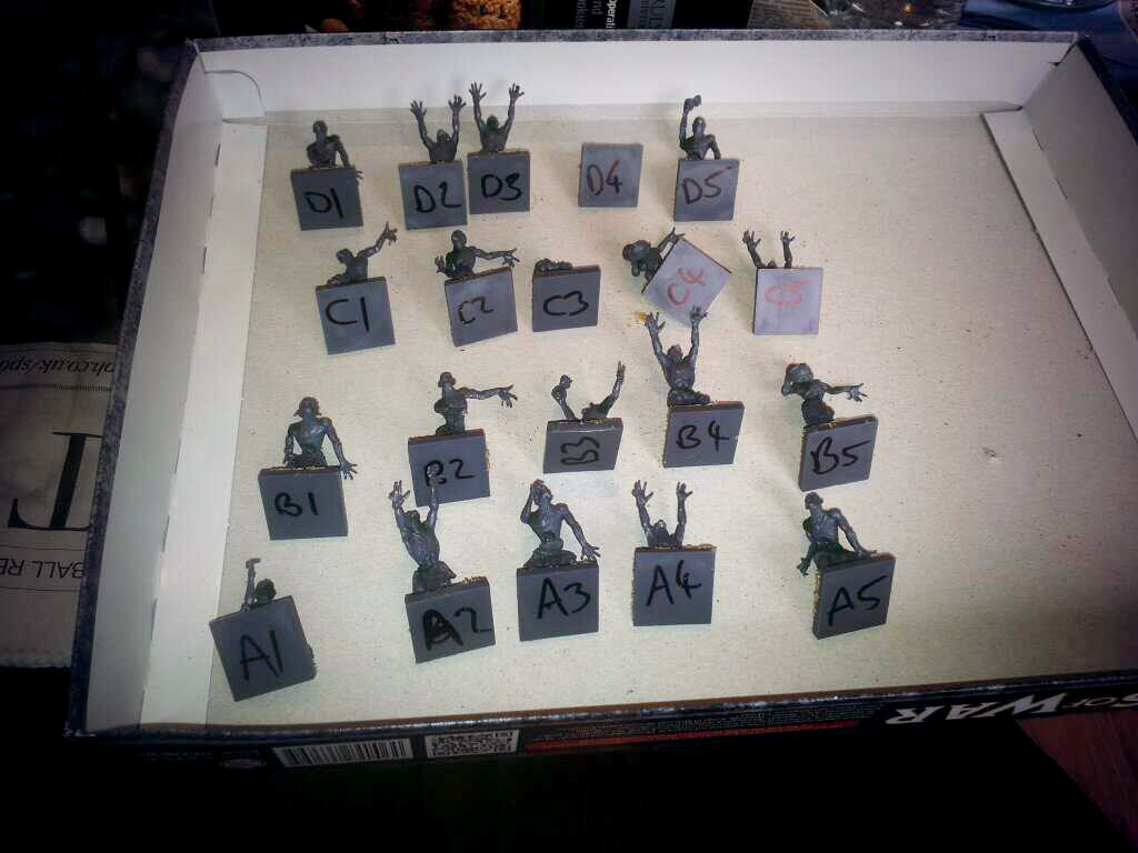 I'll be sticking my models onto a plasticard regiment base once they're painted, but for now this keeps 'em in order!