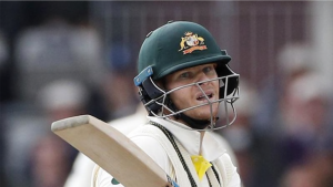 The fourth test was the first match in which Steve Smith has used a neck guard. Image:AP