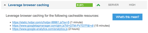 Leverage browser caching gtm