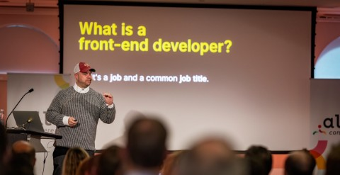 Chris Coyier talking about the role of Front End Developers at Dot All 2019