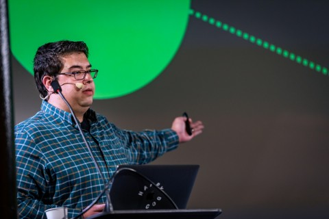Kyle Cotter speaking at Dot All Montreal 2019