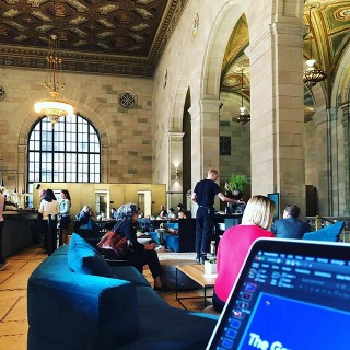 What a fabulous co-working space this is - in an old bank in Vieux Montréal. Finalising my slides for #dotall2019 on Thursday #thisaintnoholiday #coworking #workingonthego #remoteworking #agencylife #digitalagency #montreal