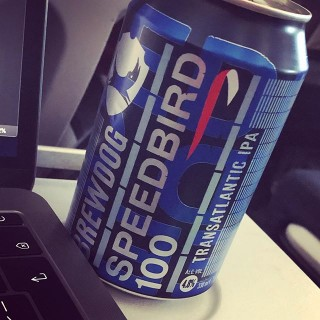 Sampling the @brewdogofficial Speedbird 100 IPA at 40,000 feet while finalising my talk for this weeks #craftcms #dotall2019 conference in Montreal, Canada