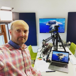 A behind the scenes view of this mornings online event hosting from our new PodPod podcasting and media studio in Kendal. There's always so much clutter from the other side of the lens!