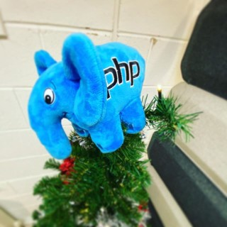 Tree up today - no Christmas fairy but an elePHPant 😂