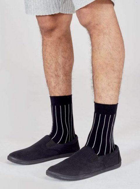 I and Me Branded Black Stripe Socks