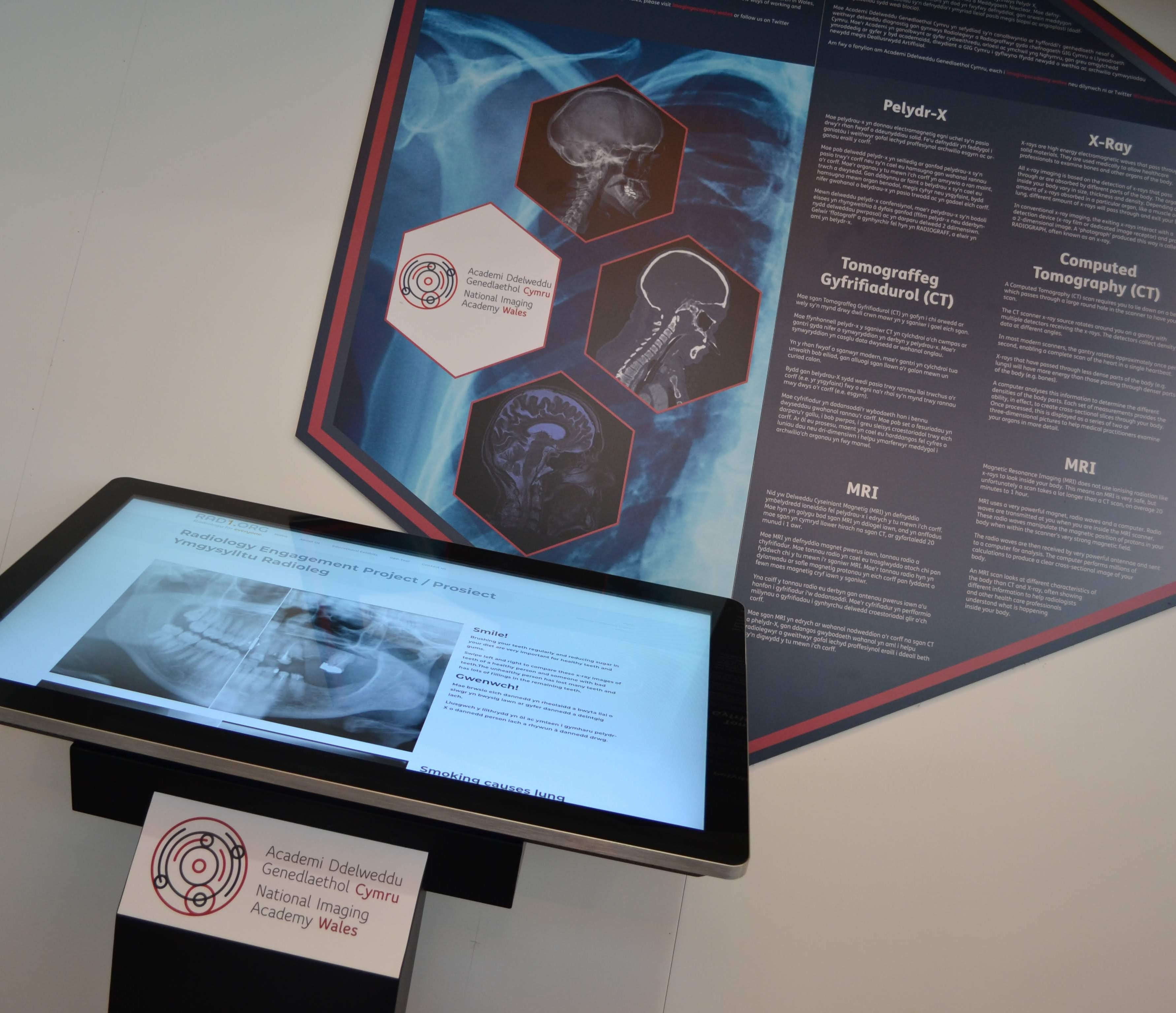 screen and display board showing how the new exhibit will sit at Techniquest.