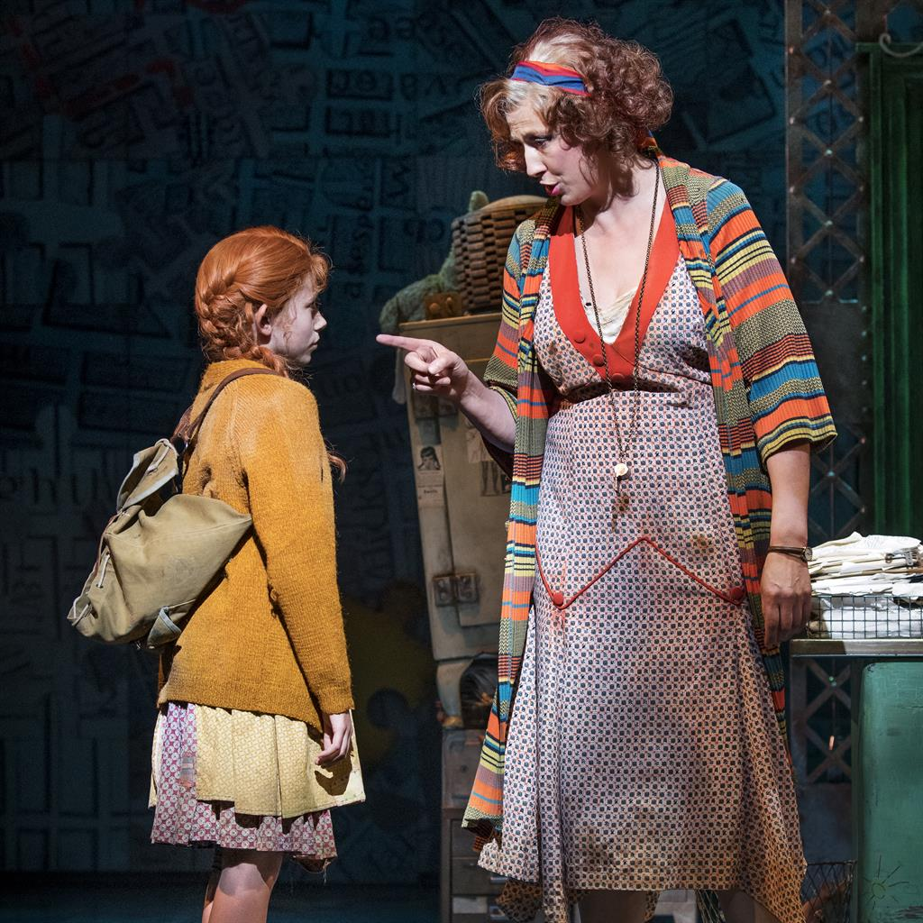 Nation's sweet-Hart: Ruby Stokes as Annie with Miranda Hart as Miss Hannigan PICTURE: PAUL COLTAS