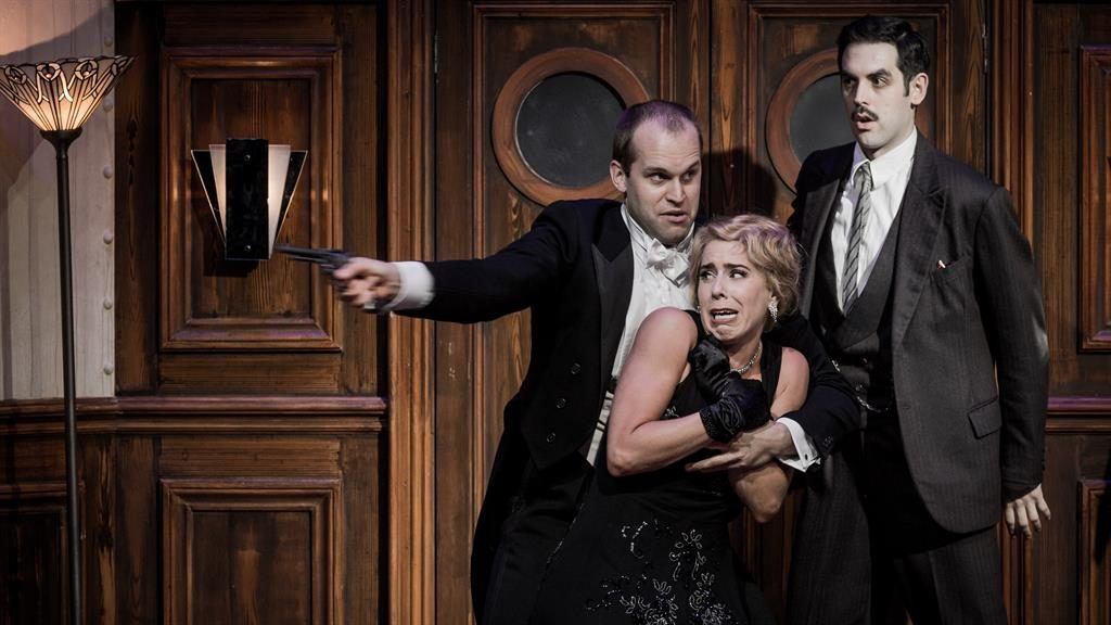 Full steam ahead: For Don Giovanni (Ashley Riches, left) as he tries to abduct Donna Anna (Lauren Fagan) with the help of Leporello (John Savournin)