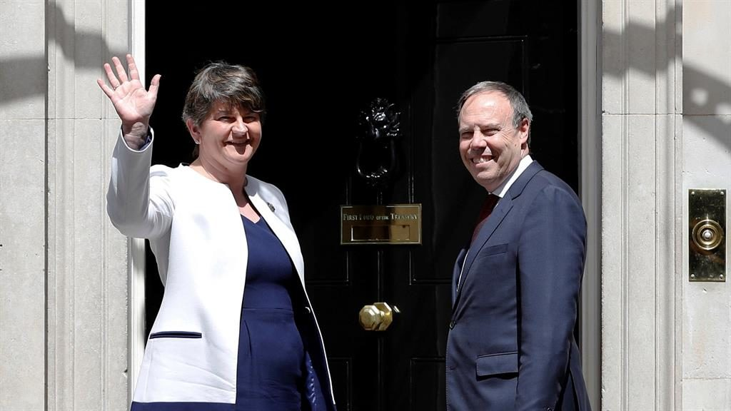 DUP head arrives for talks with United Kingdom leader May